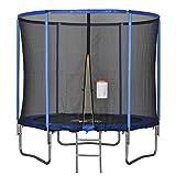 homcom tappeto elastico per bambini e adulti con rete e bordo imbottito, giochi da giardino e casa Φ244x240cm blu e nero