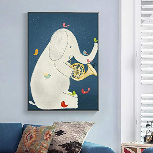 GUDOJK muurschildering olifant speelt de trompet ster linnen kinderen posters afdrukken baby meisjes kinderkamer muurkunst schilderij kinderen slaapkamer decor 60x80cm(24x32inch)