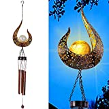 MAGGIFT Outdoor Solar Wind Chime for Hanging, Metal Moon Crackle Glass Ball Warm LED Light Sympathy Wind Chime, Mobile Hanging Decorative Patio Lights for Yard Garden, Gifts for Mom Women Wife