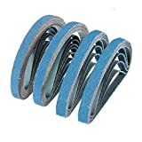 1/2 Inch X 18 Inch Sanding Belts, 4 each of 40/60/80/120 Grits, Blue Belt Sander Tool for Woodworking, Metal Polishing, Zirconia Sanding Belts (16 Pack)