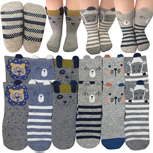 6 Pairs Toddler Non Skid Anti Slip Crew Socks with Grips for 1-3T Baby Boys Ankle Walker Cartoon Footsocks Sneakers Socks