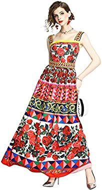 LAI MENG FIVE CATS Womens Summer Square Neck Sleeveless Floral Print Casual A-line Long Dress