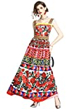 LAI MENG FIVE CATS Womens Summer Square Neck Sleeveless Floral Print Casual A-line Beach Maxi Dress Red