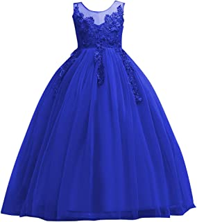 FYMNSI Flower Girls Applique Princess Tulle Lace Birthday Dress Communion Prom Ball Evening Gowns