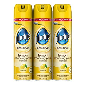 Pledge Multi-Surface Furniture Polish Spray Works on Wood Granite and Leather Shines and Protects Lemon 9.7 oz - Pack of 3