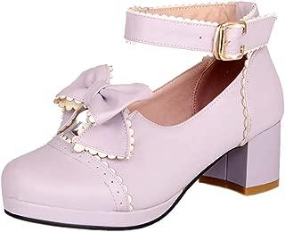 ELEEMEE Women Fashion Block Heel Pumps Shoes