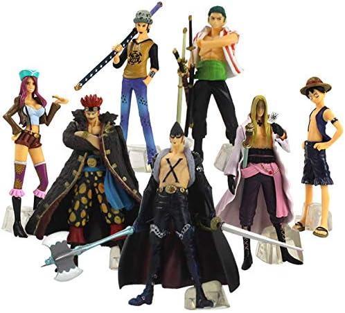 7pcs lot 12CM One Piece Figures Luffy Zoro Hawkins X Drake Trafalgar Law Jewelry PVC Model Toys product image
