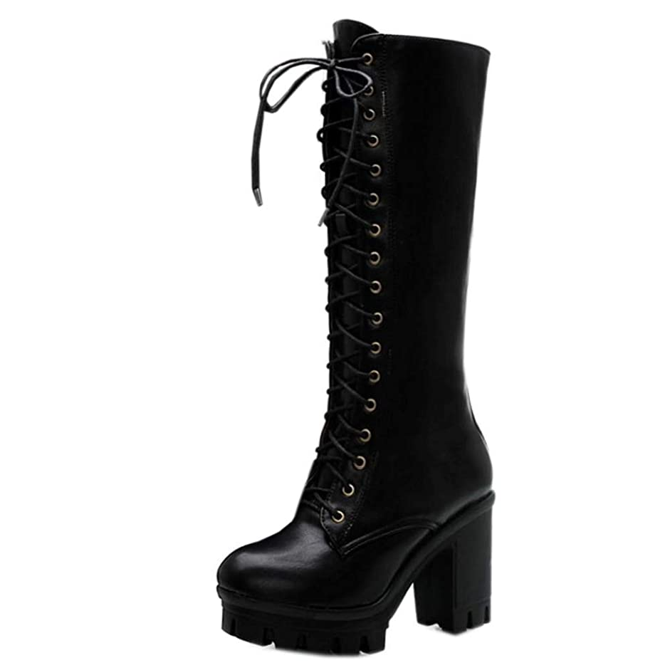 お気に入り減らす通知[Unm] レディーズ ファッション ハイヒール Combat ブーツ
