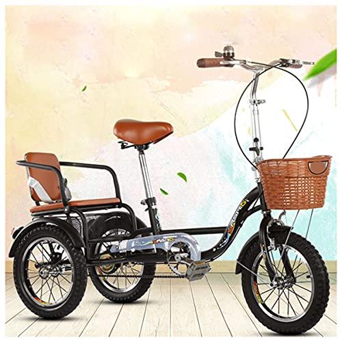 Triciclos Adultos para Adultos Trike Bicicleta Pedal De Ciclismo con Cesta De Compras, para Ocio,Deportes O Cualquier Ocasión (Color : Black, Size : Seat)