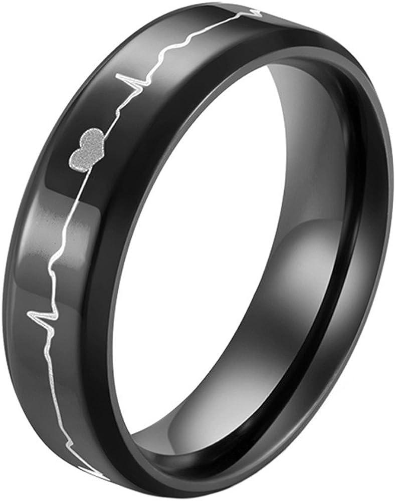 sinleo Hombres Mujeres Acero inoxidable grabado EKG latido del corazón boda banda anillos aniversario regalo 6mm), color azul/negro