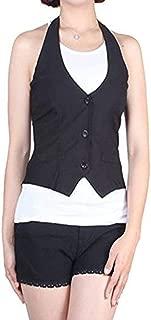 Fashion Secrets Juniors Satin Racerback Waistcoat Black Vest