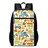 Organic Agriculture Grunge Pattern Laptop Backpack School Backpack 17 inch