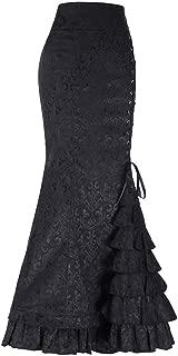 Women Gothic Ruffled Steampunk Vintage Fishtail Mermaid Skirt Victorian High Waist Retro Maxi Skirt