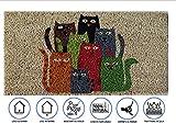 Zerbino da Esterno in Cocco con Base in PVC Dipinto a Mano Raffigurante Otto Gatti Colorati 50X25X2 cm. Facile da Pulire e Ultraresistente