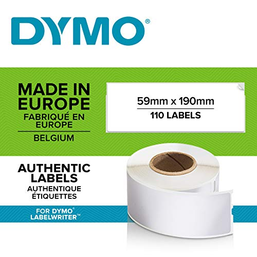 DYMO LW-Mehrzwecketiketten/große LAF-Etiketten selbstklebend (59mm x 190mm, Rolle mit 110leicht ablösbaren Etiketten, für LabelWriter-Beschriftungsgeräte, authentisches Produkt)