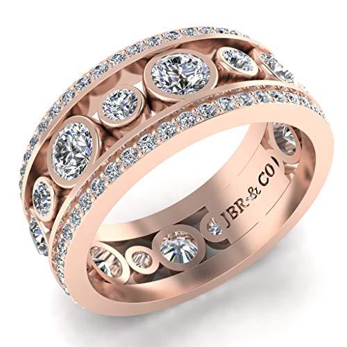 JBR Anillo clásico de plata de ley de corte redondo para mujer, apilable, joyería de lujo para ella, con hermosa caja de regalo