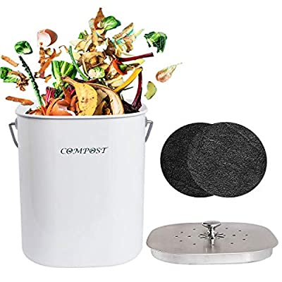 AVV Metal Compost Bin with Stainless Steel Lid for Kitchen Counter Top Composter Indoor Countertop Container Bucket Pail Collector White 1.3 Gallon