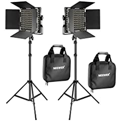 Kit includes: (2)Bi-color LED Video Light with U Bracket and Barndoor, (2)White Diffuser, (2)Power Adapter, (2)Power Cable, (2)Carrying Case and (2)26 inches/66 centimeters-75 inches/190 centimeters Adjustable Light Stand With 330 White and 330 Yello...