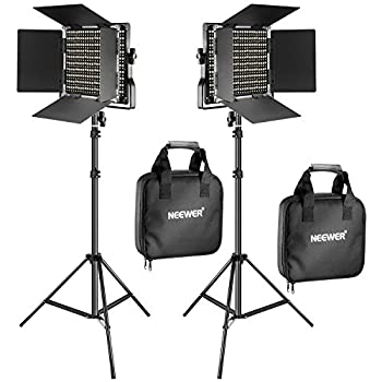 Neewer 2 Pieces Bi-color 660 LED Video Light and Stand Kit Includes  2 3200-5600K CRI 96+ Dimmable Light with U Bracket and Barndoor and  2 75 inches Light Stand for Studio Photography Video Shooting