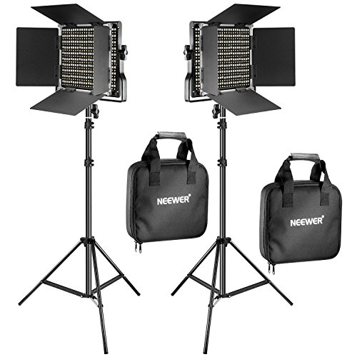 Neewer 2 Kit d'Illuminazione Pannello Luce 660 LED Bicolore Dimmerabile & Cavalletto: Faretto LED 3200-5600K CRI 96+ con Staffa-U & 200cm Cavalletto per Fotografia Registrazioni Video in Studio