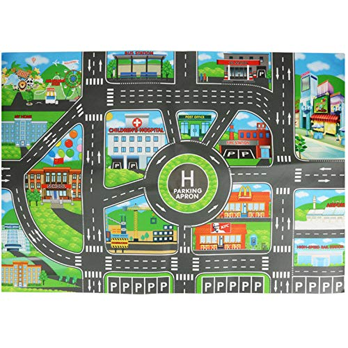 Fasclot Kids Play Mat City Road Buildings Parking Map Game Scene Map Educational Toys