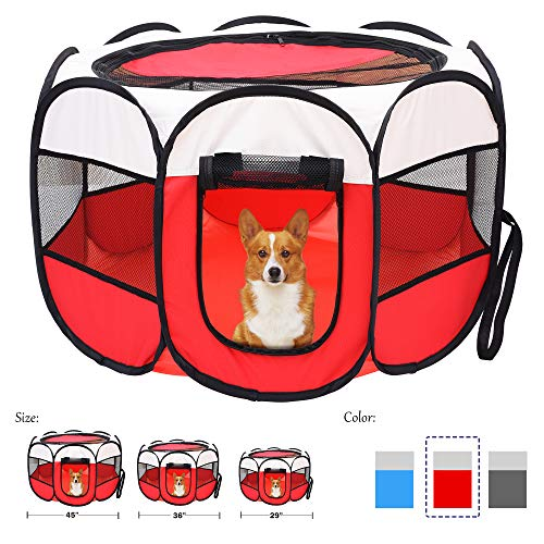 Mile High Life | Portable Cat Dog Crate | Foldable Dog Case Tent | Collapsible Travel Bowel | Water Resistant Shade Cover | for Dogs/Cats/Rabbit (Red, Small-Dia29 H17 Categories