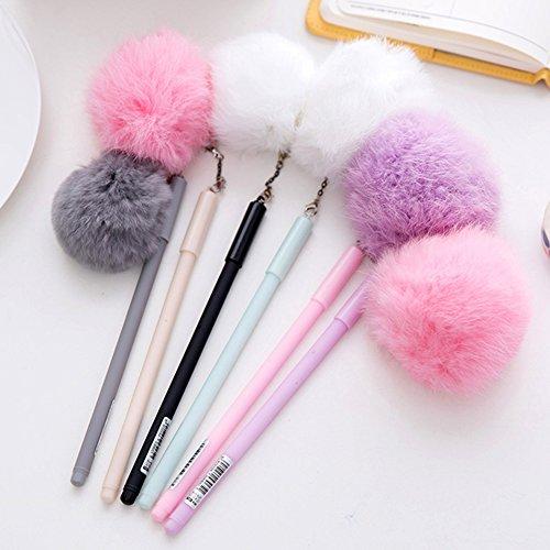 Shyymaoyi - Bolígrafo de tinta de gel de plástico negro con pompón de 0,5 mm de color caramelo para oficina, escuela, estudiante, artículos de papelería Random Color