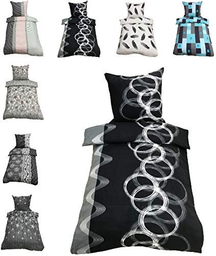 Leonado-Vicenti Thermofleece Bettwäsche 2 TLG / 4 TLG / 3 TLG Flausch Winter Garnitur Bettbezüge, Maße:4 teilig 135x200 cm, Farbe:Kreise schwarz grau