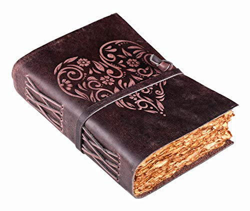 Journal for Women - Vintage Journal - Heart Embossed Leather Journal for Women - Leather Journal - Vintage leather Journal - Writing Journal - 8 X 6 inches Antique Deckle Edge Vintage Paper