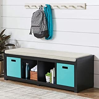 Better Homes and Gardens 4-Cube Storage Organizer Bench (4-Cube, Solid Black)