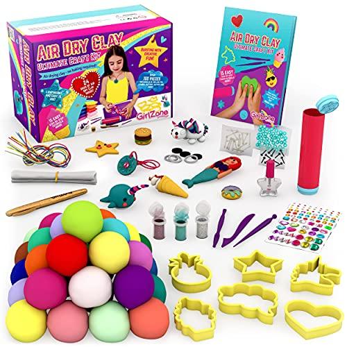 GirlZone Kit Definitivo de Arcilla para Moldear 100 Piezas de Arcilla Polimérica para Niños, Arcilla Secado al Aire para Niños Sin Horno - Manualidades para Niñas 8-12 Años.
