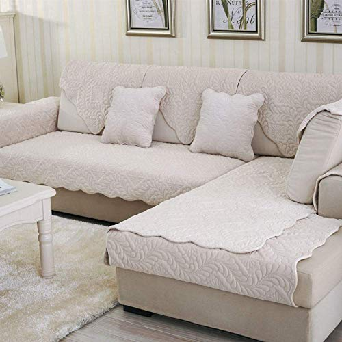 WENYAO Soft Quilted Couch Cover, Protect Sofas From Kids, Dogs, Cats, Non-slip Furniture Protector, Sofa Slipcover Washable - Sold 1 Piece-creamy-white 90x210cm/35x83inch