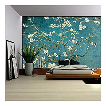 wall26 - Vibrant Teal Gradient Almond Blossom by Vincent Van Gogh - Wall Mural Removable Sticker Home Decor - 100x144 inches