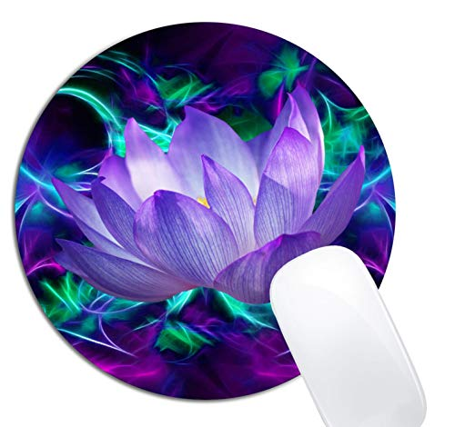 Purple Lotus Flower Mouse Pad Round NonSlip Rubber Mousepad Laptop Office Computer Decor Cute Desk Accessories Customized Design Mouse Pad