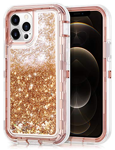 JAKPAK Compatible with iPhone 12 Pro Max Case for Girls Women Glitter Sparkle Case Heavy Duty Shockproof Protective Case with PC Bumper TPU Cover Compatible with iPhone 12 Pro Max 6.7 inch Rose Gold