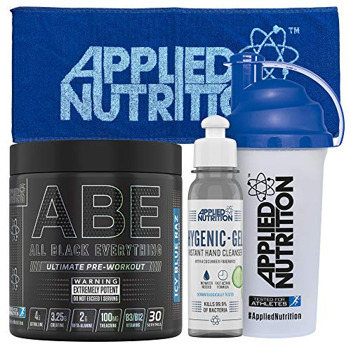 Applied Nutrition Bundle ABE Pre Workout 315g + 700ml Shaker + Gym Towel + Hand Gel | All Black Everything, Boosts Energy & Performance with Citrulline, Creatine, Beta Alanine (ICY Blue Raz)