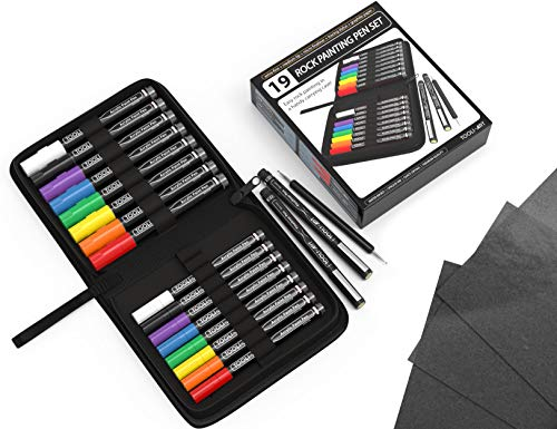 Acrylic Paint Markers Paint Pens Rock Painting Kit 19 Pen Set In Zipper Case. 16 Pens(0.7mm+3mm) 2 micro fineliners, Tracing Stylus, Graphite Carbon Tracing Paper, Mugs, Canvas, Fabric. Non Toxic