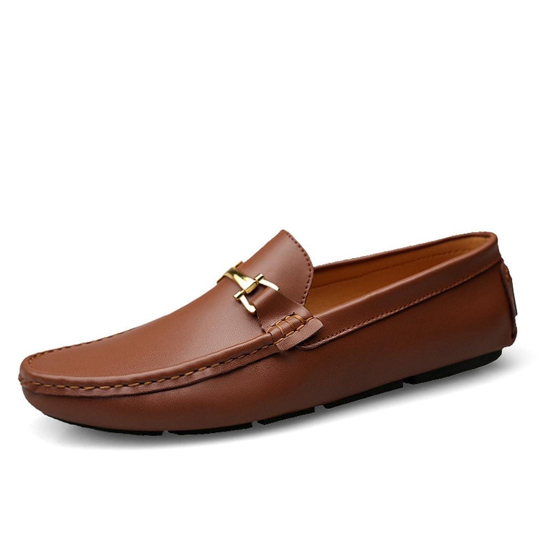 Shoes メンズシューズ モカシン 軽量 革靴 ローファー マニュアル ラウンドトゥ ペニーボート ラバーソール Comfortable (Color : 褐色, サイズ : 27.5 CM)