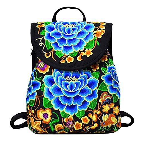 GUOCU Mujer Bolso del viaje de la mochila Pequeña con Bordado de Flores Bolsa de Hombro Lienzo de viaje Mochila de escolares Bolso Mochila de diseño único para Compras Citas Fiesta Azul L