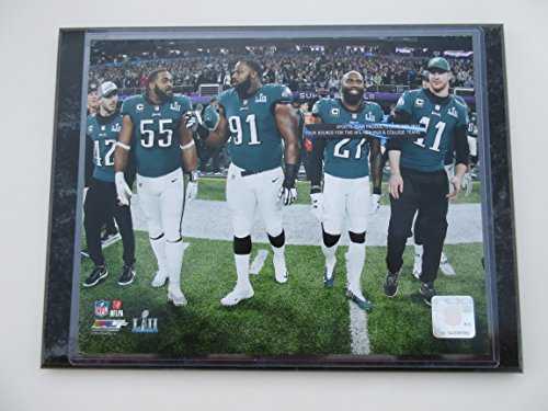 PHILADELPHIA EAGLES SUPER BOWL L11 52 CHAMPIONS CAPTAINS PHOTO WITH BRANDON GRAHAM - FLETCHER COX - MALCOLM JENKINS - CARSON WENTZ MOUNTED ON A