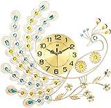 NSYNSY Relojes de Pared Decorativos de Pavo Real, Sala de Estar, Reloj de Cuarzo, Arte Creativo en Hierro, Marco de Metal de Gran tamaño, acrílico, Diamante-k 70x65cm (28x26 Pulgadas)