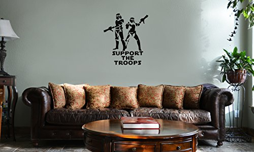 Decal Serpent Support The Troops Stormtroopers Star Wars Inspired Vinyl Wall Mural Decal Home Decor Sticker (Black)