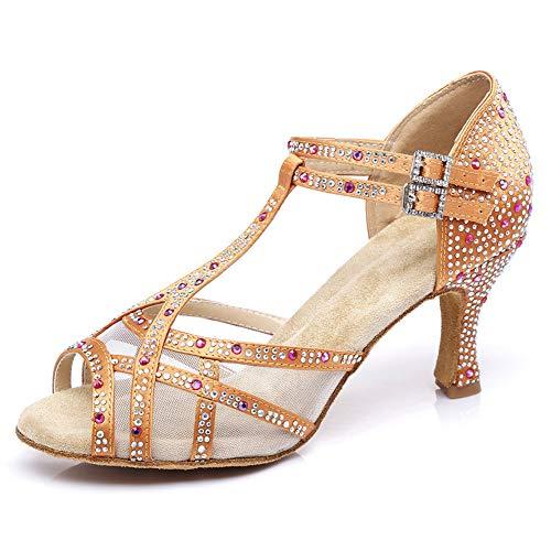 SWDZM Zapatos Baile Latinos Mujer,Zapatos Baile de Salon Mujer,Salsa,3.35'' Talón Modelo Beige...