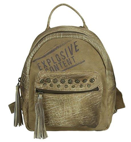 Sunsa Damen Rucksack Backpack kleine Schultertasche Umhängetasche Ranzen Daypack Vintagetasche in Vintage Retro Design Damentasche Frauentasche Canvas mit Leder klein Rucksäcke für Frau braun