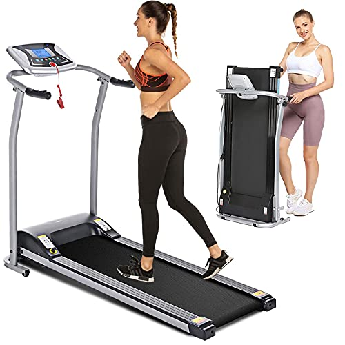 Electric Folding Treadmill for Home with LCD Monitor,Pulse Grip and Safe Key Fitness Motorized Running Jogging Walking Exercise Machine Space Saving for Home Gym Office Easy Assembly (Grey)
