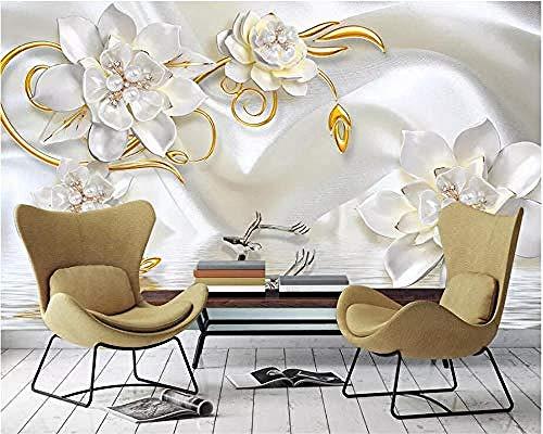 Wallpaper 3D Stereo murals Relief Pearl Jewelry Flower Simple Sofa Bedroom Living Room TV Background Wall 3D Wallpaper Paste Living Room The Wall for Bedroom Mural-350cm×256cm