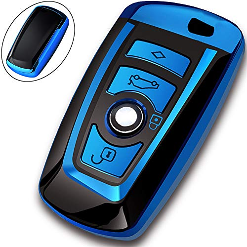COMPONALL Key Fob Cover for BMW, Key Fob Case for BMW 1 3 4 5 6 7 Series X3 X4 M5 M6 GT3 GT5 Remote Control Key Premium Soft TPU Anti-dust Full Protection Blue