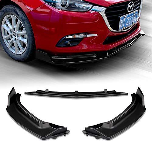 Stay Tuned Performance PU/681 Unpainted Matte Black Front Bumper Body Kit Lip 3PCS Compaitble with 2014-2018 Mazda3 Axela