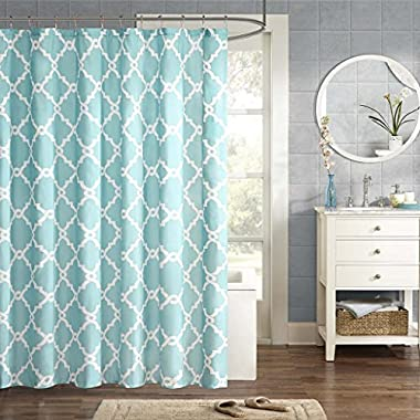 Merritt Design Pattern Modern Fabric Shower Curtain, Simple Geometric Casual Shower Curtains for Bathroom, 72 X 72, Aqua