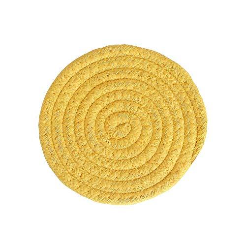 Manyao Handarbeit Baumwolle Seil Platzdeckchen Hand gesponnene Tischsets Servietten Geschirr Getränk Cup Coaster Isolierung Pad Küche Abendessen Wohnkultur (Color : Yellow, Size : Round)